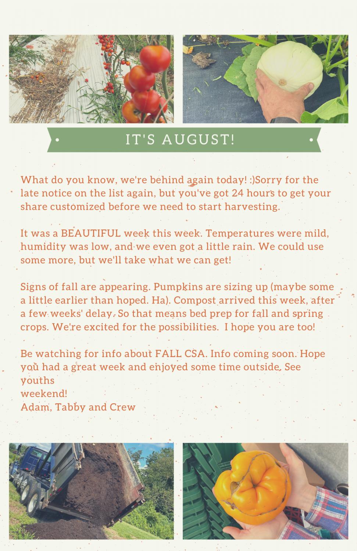 Farm Happenings for August 6, 2021
