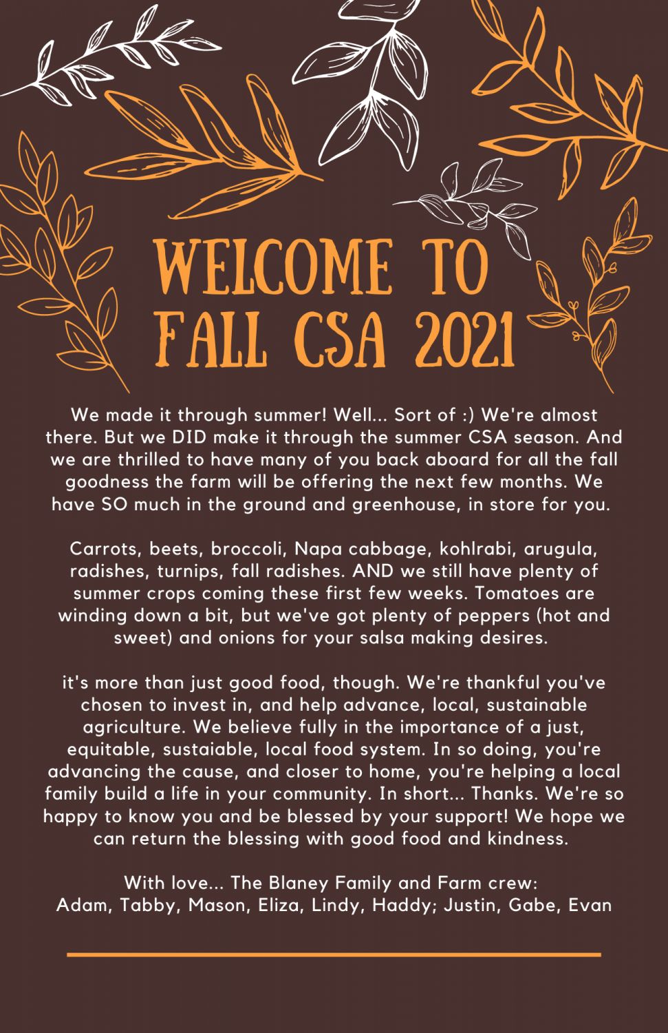 Fall CSA is Here! Here's What's in Store...
