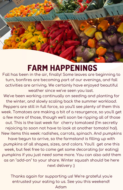 Farm Happenings for October 1, 2021
