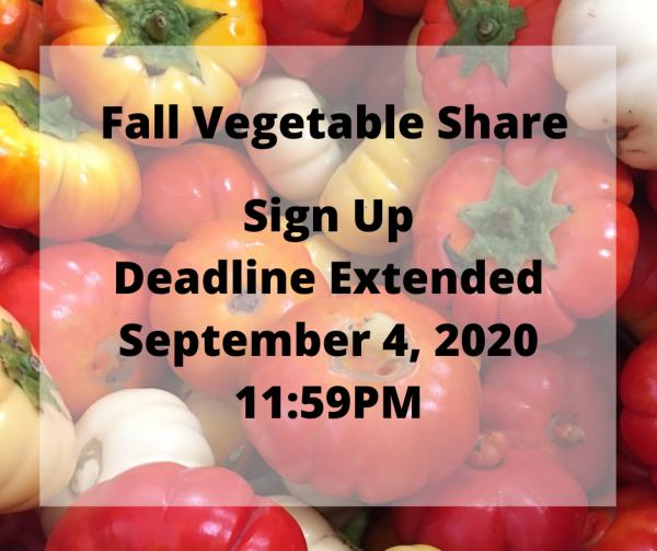 Fall Vegetable Shares Sign Up Deadline Extended to September 4, 2020