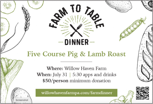 Reserve Your Tickets NOW for Farm to Table Dinner this Saturday July 31